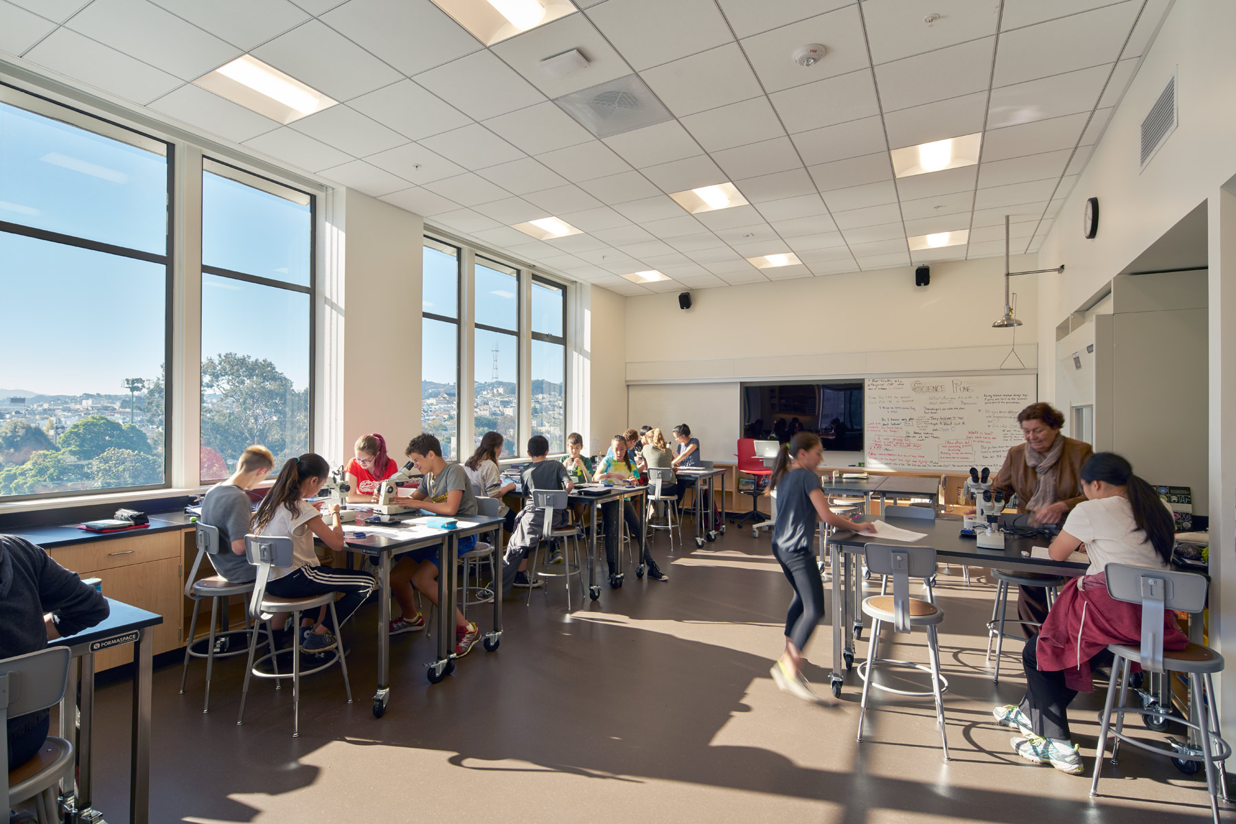 The Chinese American International School is a dual Chinese-English dual language immersion school in San Francisco; the new middle school campus is an adaptive reuse of two abandoned buildings into a dynamic and collaborative new educational environment.
