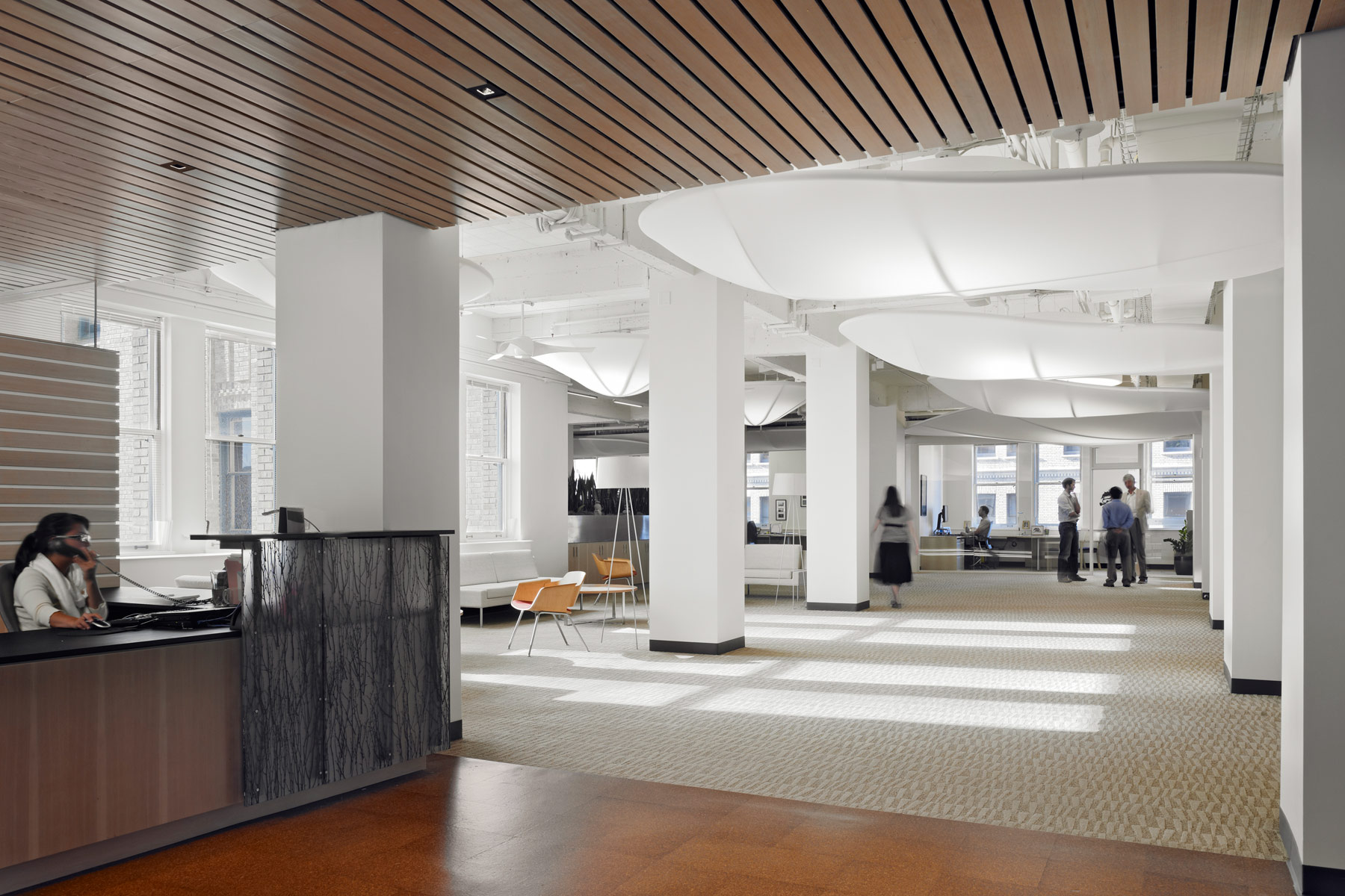 The highly sustainable, LEED Platinum-rated ClimateWorks Foundation office space weaves together advanced energy-efficiency and carbon reduction within inviting spaces that connect staff and visitors to each other and the natural world.