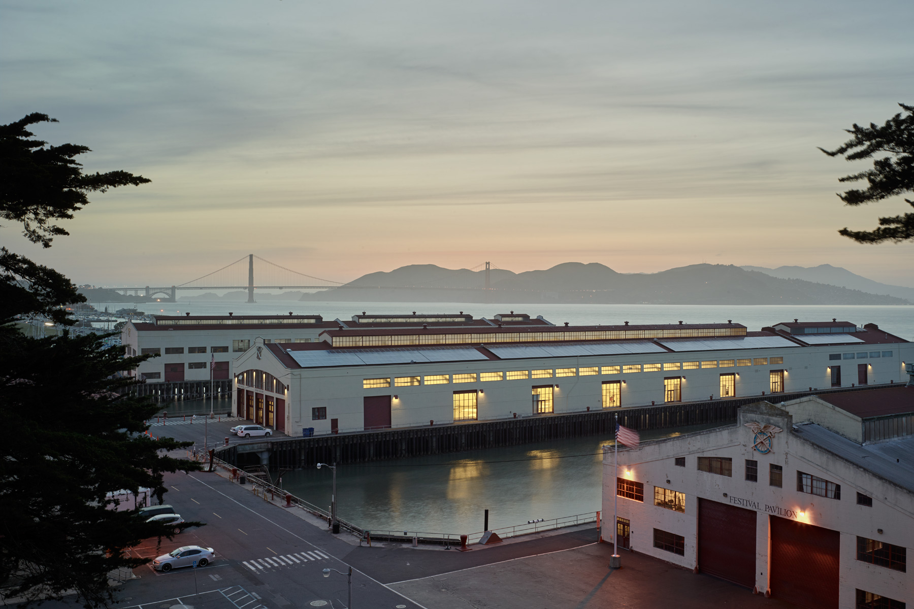 Pier 2 at the historic army base Fort Mason Center is currently being renovated into the new San Francisco Art Institute Graduate Center.