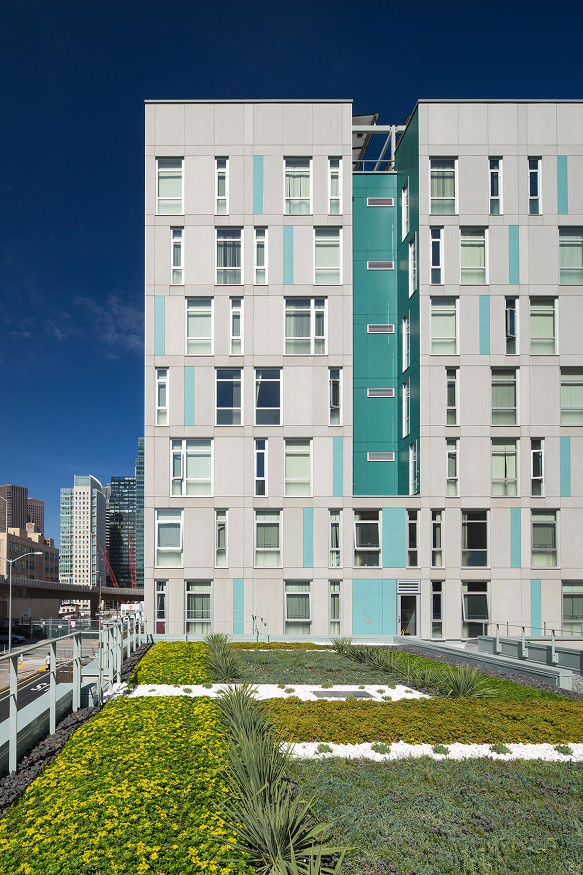 Rene Cazenave Apartments in San Francisco is a model of sustainability for affordable housing, providing permanent residences for formerly homeless individuals in the Transbay Redevelopment Area.