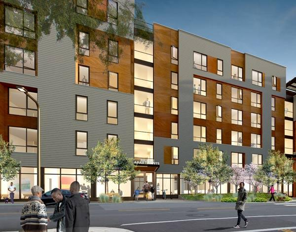 This new development in downtown Berkeley is in a transit rich neighborhood and will provide affordable permanent, supportive, and transitional housing as well as supportive services to formerly homeless individuals, veterans, and low-income families as well as a public parking garage.